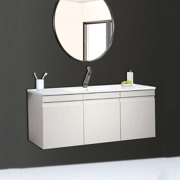 URI ארון אמבטיה סנדוויץ תלוי דלתות בצביעת אפוקסי עם כיור חרס אינטגרלי